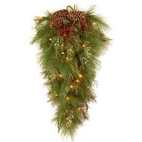 National Tree Company 28 in. White Pine Teardrop with Battery Operated Warm White LED Lights