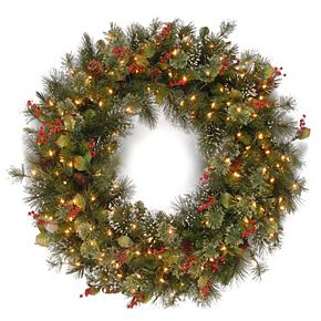"National Tree Company 30"" Wintry Pine Wreath with Clear Lights"
