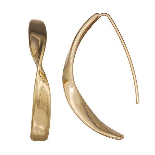 Dana Buchman Gold Twisted Threader Earrings