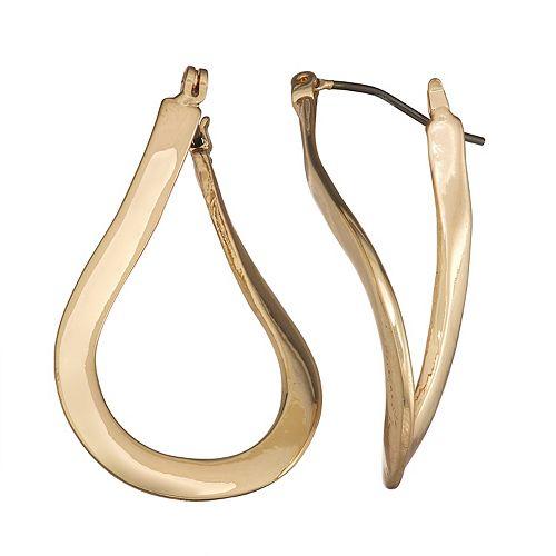 Dana Buchman Gold Twisted Hoop Earrings