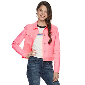 Juniors' Mudd Neon Pink Denim Jacket