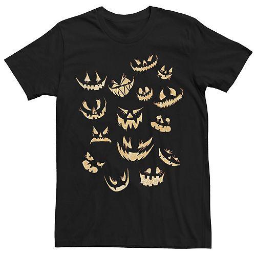Men's Halloween Jack-o'-lantern Pumpkin Faces Tee