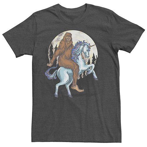 Men's Big Foot On A Unicorn Drawing Tee
