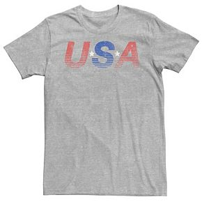Men's USA Line Gradient Colored Red White & Blue Tee