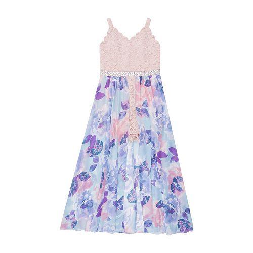 Girls 7-16 & Plus Size Speechless Sleeveless Lace Walkthrough Maxi Dress