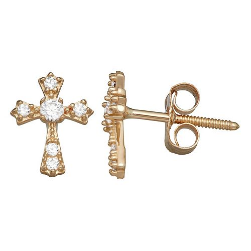 Charming Girl 14K Gold Cubic Zirconia Cross Earrings