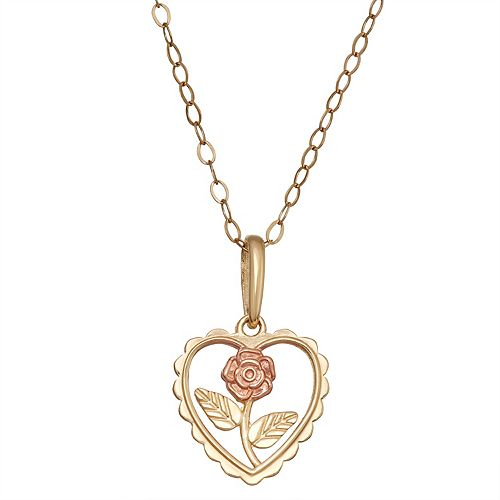 Charming Girl 14k Gold Two-Tone Heart & Flower Pendant Necklace
