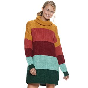 Juniors' It's Our Time Colorblock Cowlneck Sweaterdress