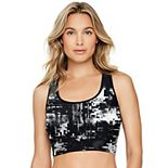 Women's Reebok Print Racerback Crop Midkini Top