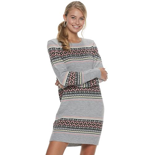 Juniors' Rewind Fair Isle Sweater Dress