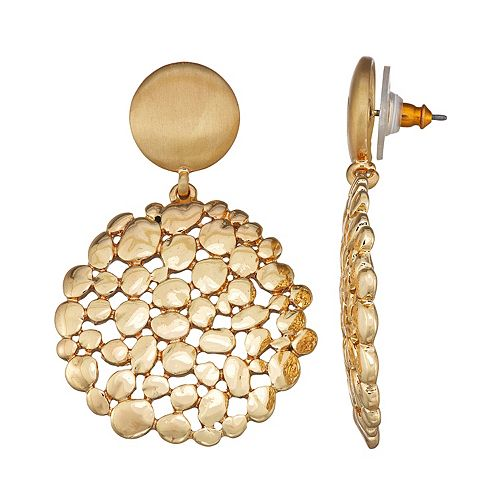 Dana Buchman Gold Tone Cluster Pod Drop Earrings