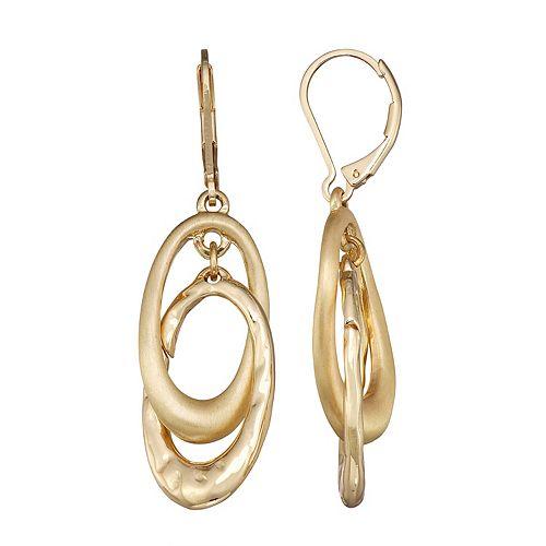 Dana Buchman Gold Tone Loop Double Drop Earrings