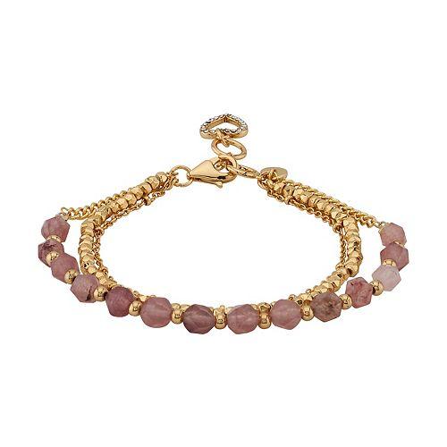 LovethisLife® Strawberry Quartz Triple Strand Heart Charm Bracelet
