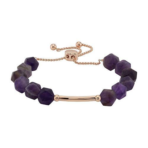 LovethisLife® Amethyst Stone Bar Bolo Bracelet