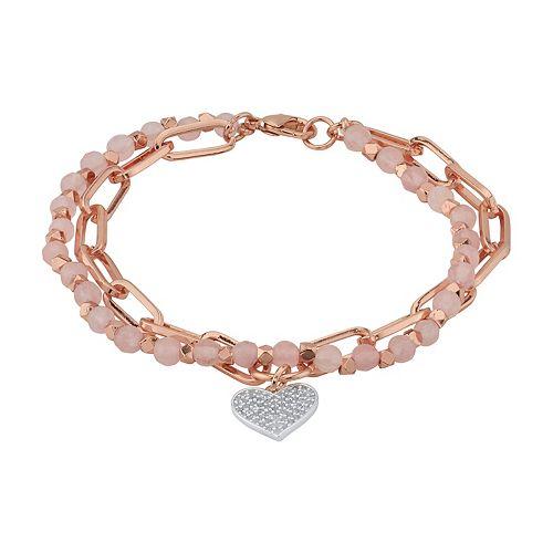 LovethisLife® Rose Quartz Double Strand Cubic Zirconia Heart Charm Bracelet