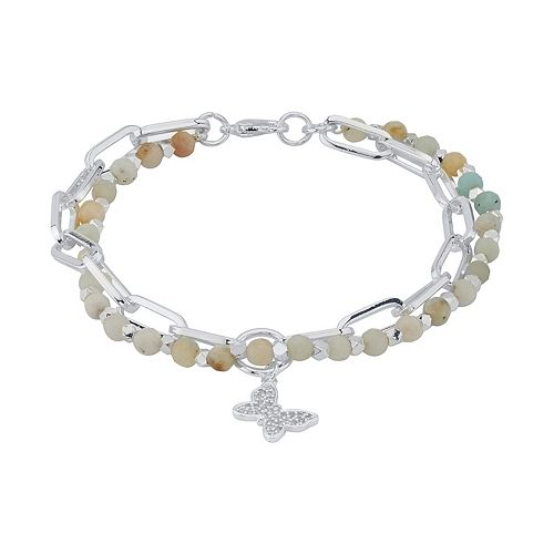 LovethisLife® Amazonite Double Strand Cubic Zirconia Butterfly Charm Bracelet