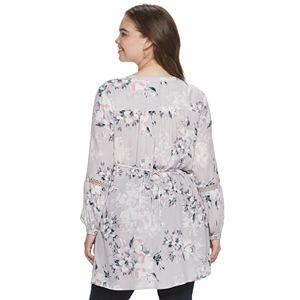 Juniors' Plus Size American Rag Floral Lace Tunic