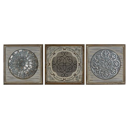 Belle Maison Mixed Metal and Wood 3-pc. Wall Art
