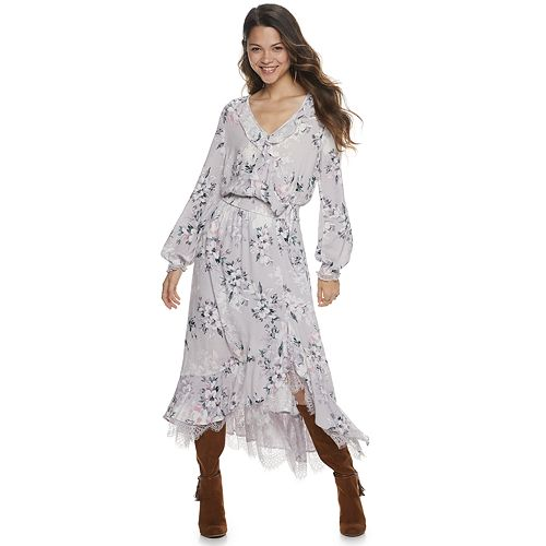 Juniors' American Rag Mesh Lace & Moet Maxi Dress