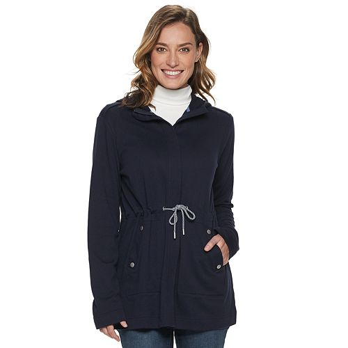 Women's Croft & Barrow® Hooded Drawstring Waist Long Jacket