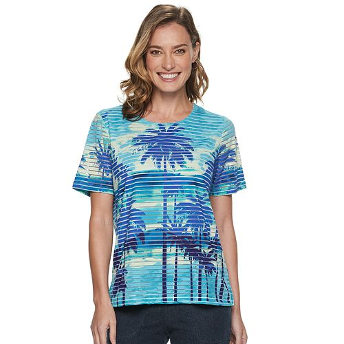 Women's Cathy Daniels Palm-Tree Print Burnout Top