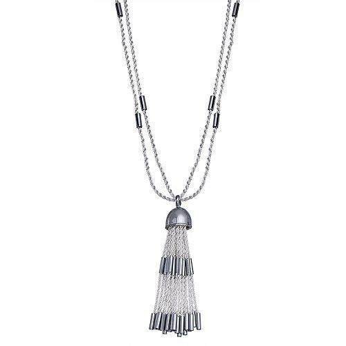 Dana Buchman Silver Tone Chain Tassel Pendant Necklace