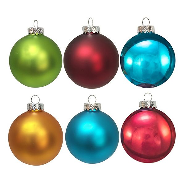 Kurt Adler Multi Colored Matte And Shiny Ball Christmas Ornament 6 Piece Set