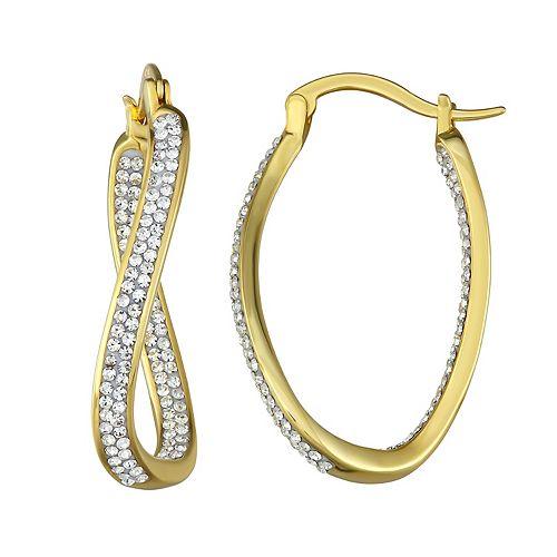 Sterling 'N' Ice Sterling Silver Twisted Hoop Earrings with Swarovski Crystal