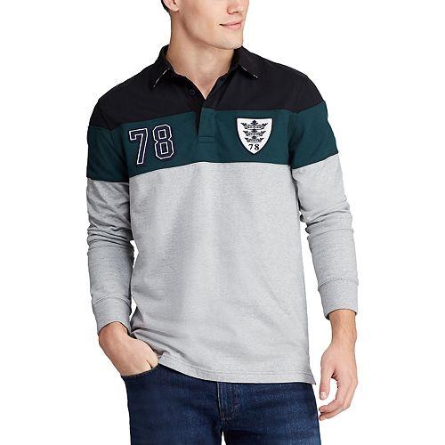 Big & Tall Chaps Long Sleeve Colorblock Fleece Rugby Shirt