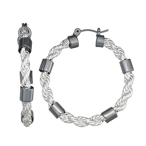 Dana Buchman Rope Hoop with Hematite Accent Earrings