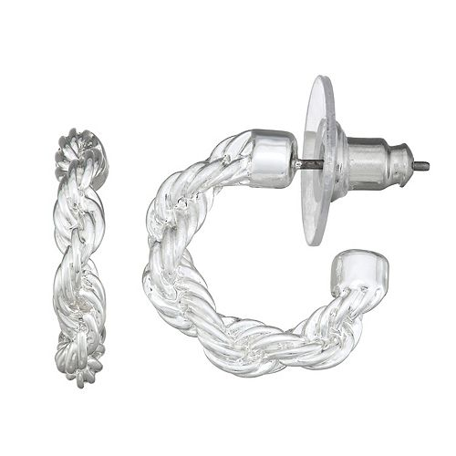 Dana Buchman Silver C Hoop Earrings