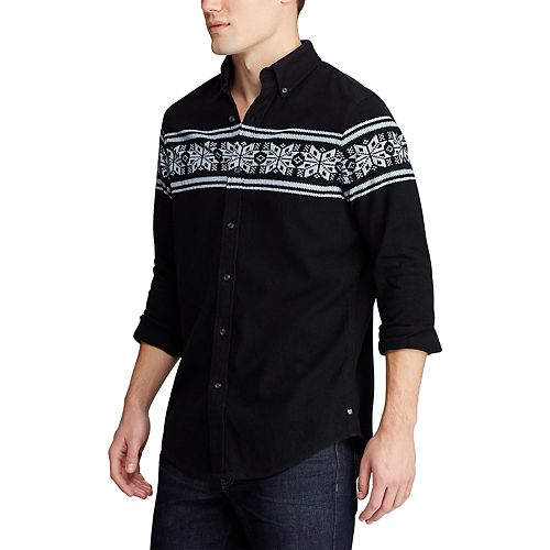 Big & Tall Chaps Fair Isle Casual Button-Down Shirt