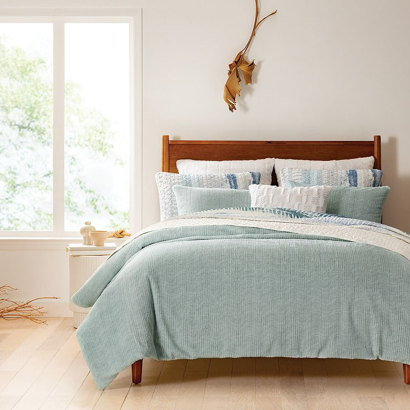 Koolaburra by UGG Raquel Faux Fur Comforter and Sham Set. Blue. Twin