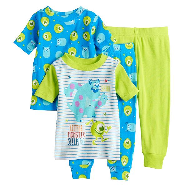 Disney Pixar Monsters Inc Baby Boy 4 Piece Sully Mike Pajama Set
