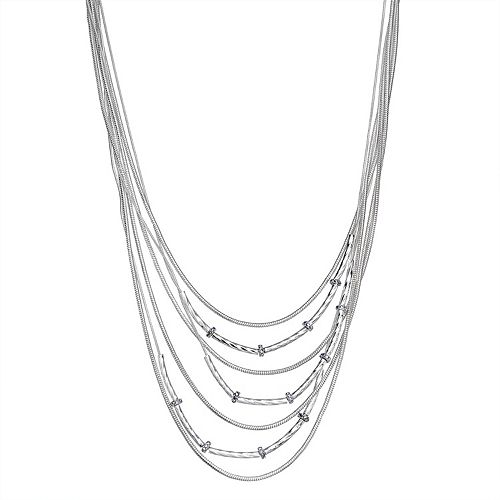 "Dana Buchman Silver Tone 17"" Textured Multi-Row Necklace"