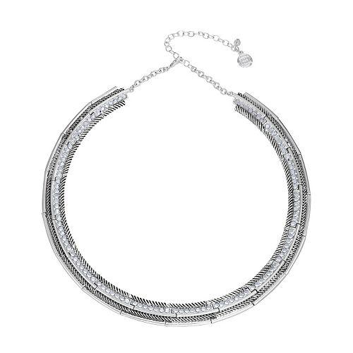 Dana Buchman Silver Tone Textured Collar Necklace