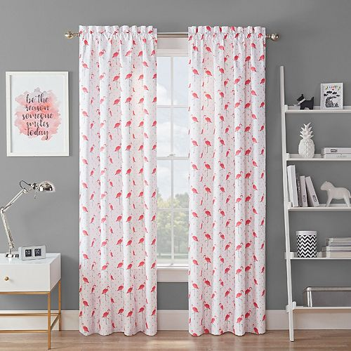 Waverly Spree Flamingo Flock Blackout Window Curtain