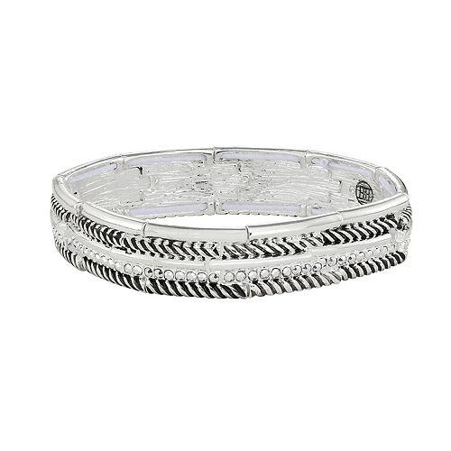 Dana Buchman Silver Tone Multi-Textured Stretch Bracelet