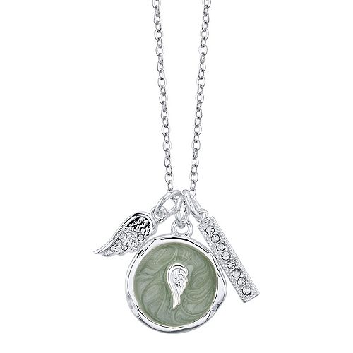 LovethisLife® Crystal Wing & Bar Pendant Necklace