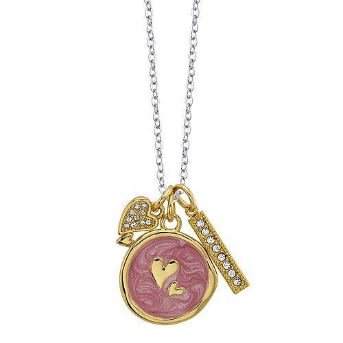 LovethisLife® Two-Tone Double Heart & Bar Pendant Necklace