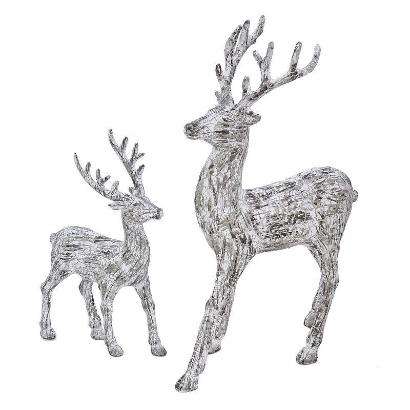 Kurt Adler 2-pc. Artificial Bark White Deer Set