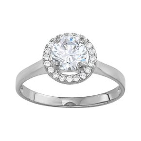 10k White Gold Cubic Zirconia Halo Ring