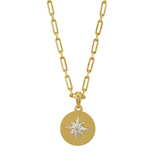 LovethisLife® Two-Tone Crystal Star Disc Pendant Necklace