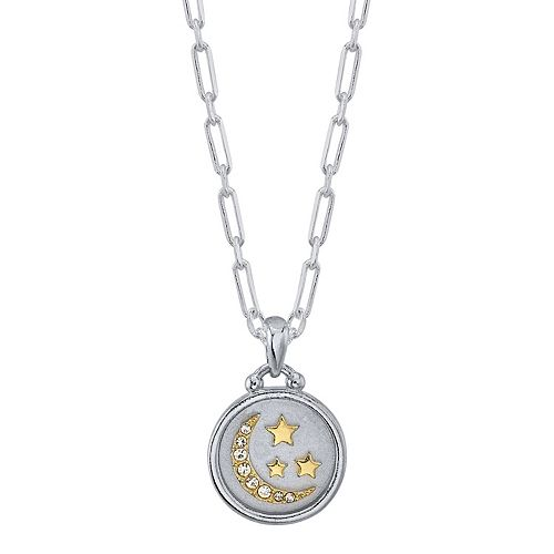 "LovethisLife® Two-Tone ""Love You to the Moon"" Crystal Moon & Star Pendant Necklace"