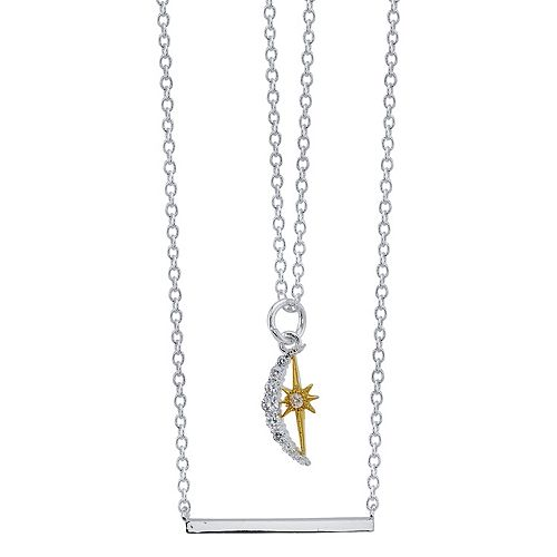 """LovethisLife® Double Strand """"Dream"""" Cubic Zirconia Moon & Star Necklace"""
