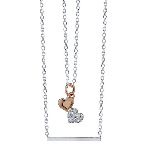 """LovethisLife® Two-Tone Double Strand """"Mother Daughter"""" Cubic Zirconia Heart Necklace"""