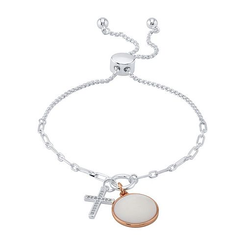 LovethisLife® Two-Tone Cubic Zirconia & Mother of Pearl Bolo Bracelet