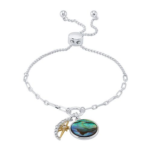 LovethisLife® Two-Tone Cubic Zirconia Moon & Abalone Bolo Bracelet