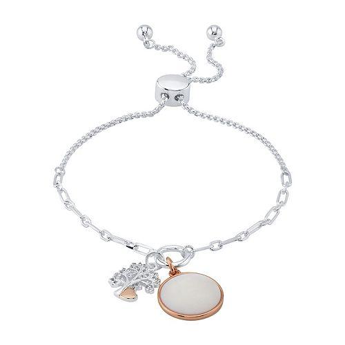 "LovethisLife® Two-Tone ""Family"" Cubic Zirconia & Mother of Pearl Bolo Bracelet"