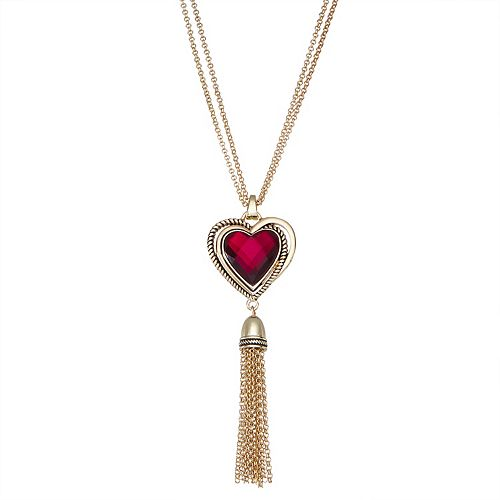 "Dana Buchman Gold Tone 36"" Heart Tassel Necklace"